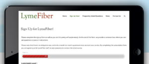 screenshot of LymeFiber Signup page